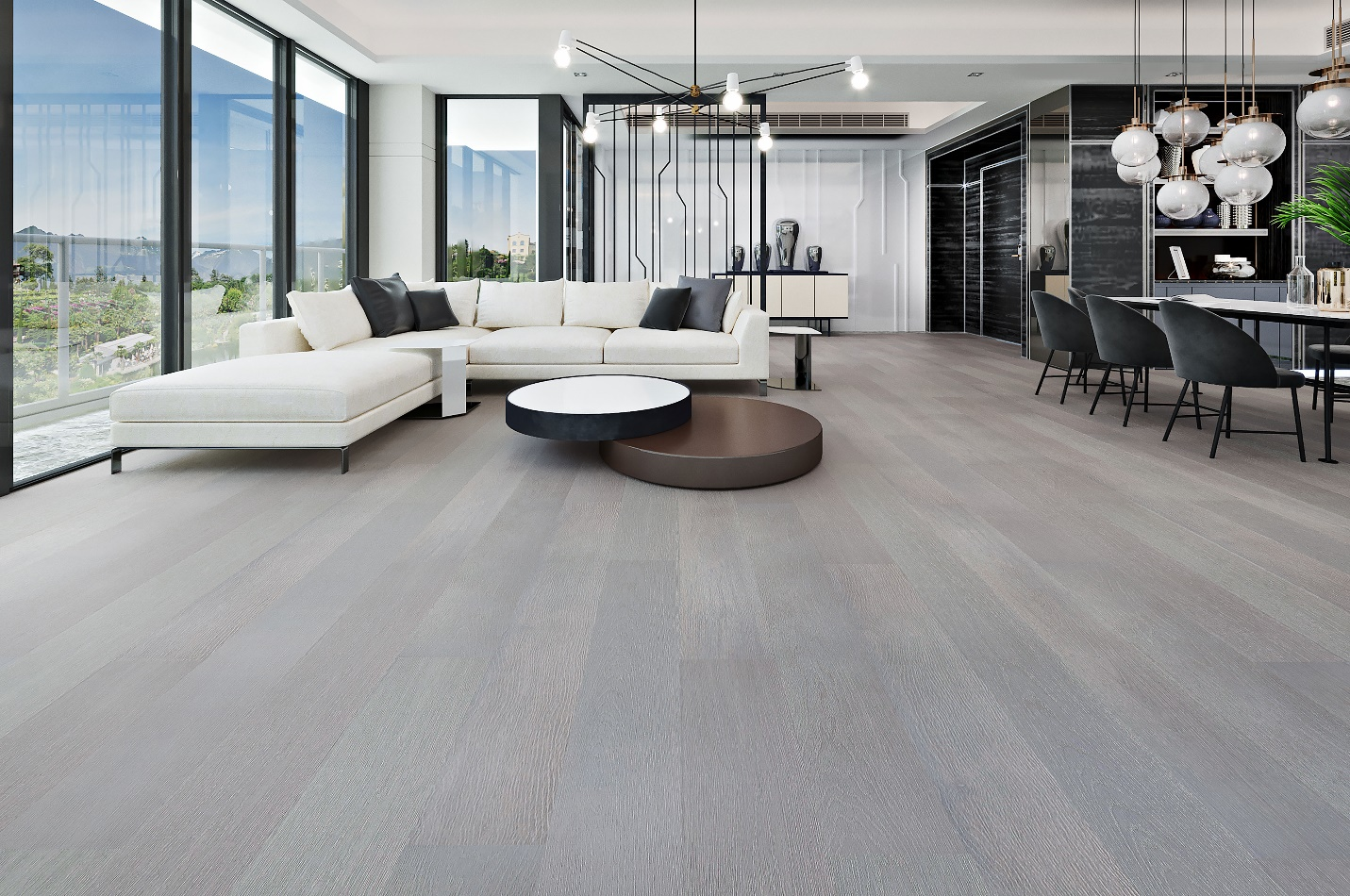 elegant living room with light grey hardwood flooring